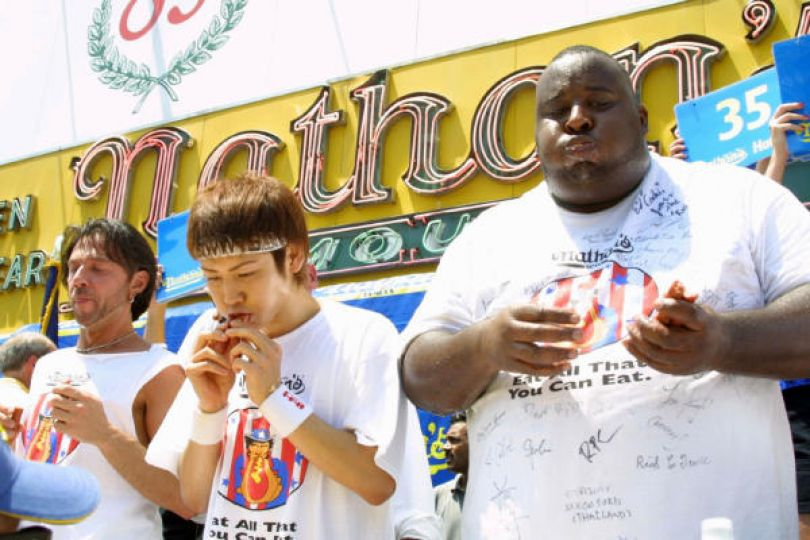 Would you believe the small Japanese guy ate twice as much as the big American in 2003