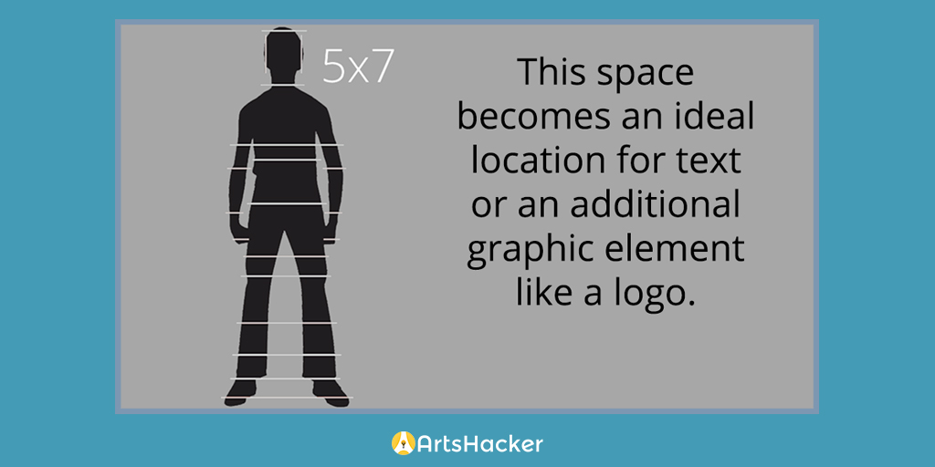 This space becomes an ideal location for text or an additional graphic element like a logo